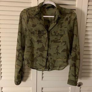 NWOT Sheer army blouse